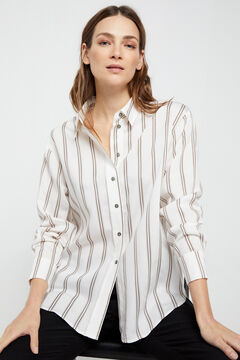 Cortefiel Striped shirt Ecru