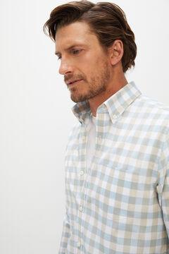 Cortefiel Camisa de xadrez vichy de algodão orgânico extra suave Azul