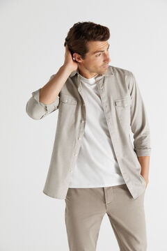 Cortefiel Camisa estructura melange Beige