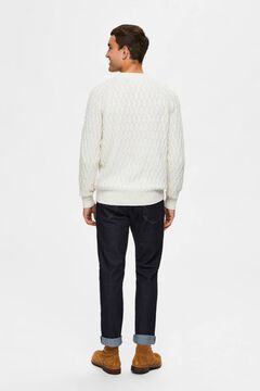 Cortefiel Cable pattern jumper White