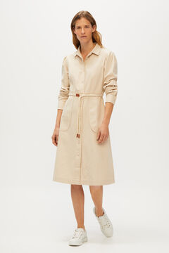 Cortefiel Midi dress with buttons Vanilla