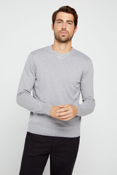 Cortefiel Organic cotton V-neck jumper Gray