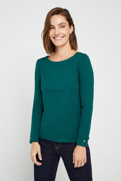 Cortefiel Boat neck t-shirt Dark green