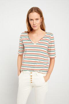 Cortefiel Essential organic cotton V-neck t-shirt Vanilla