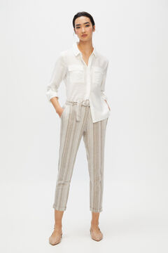 Cortefiel Belted linen trousers Yellow