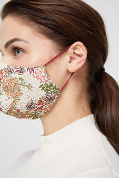Cortefiel Floral velvet face mask Natural
