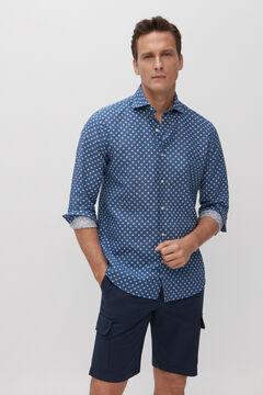 Cortefiel Camisa microestampado lino algodón Azul