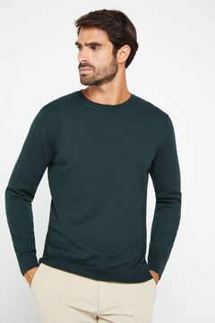 Cortefiel Crew neck jumper Dark green