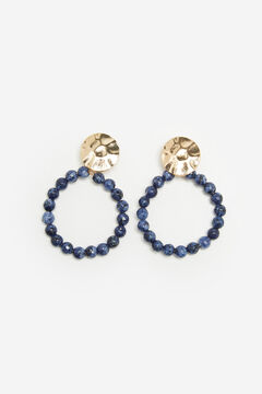 Cortefiel Bead earrings with gold embellishment Navy