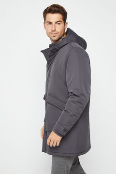 Cortefiel Long technical parka pockets Marengo