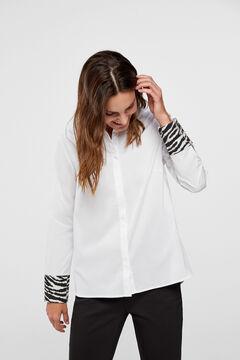 Cortefiel Cotton shirt with cuff detail White