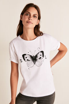 Cortefiel Camiseta cuello barco mariposa Blanco