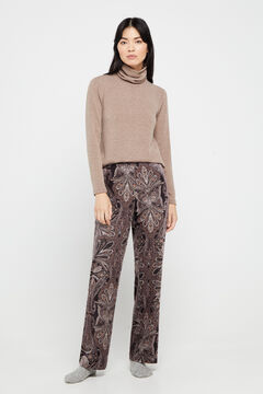 Cortefiel Printed velvet trousers Natural