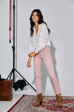 Cortefiel Straight cropped jeans Pink