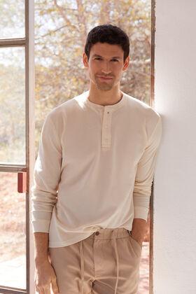 Cortefiel Bermuda cintura elástica y cordón ajustable algodón lino Beige