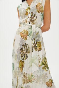 Cortefiel Dress with pleated skirt Ecru