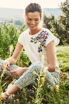 Cortefiel Floral embroidery organic cotton T-shirt White