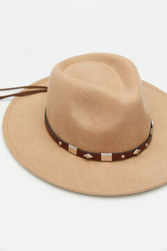 Cortefiel Hat with braided ribbons Vanilla