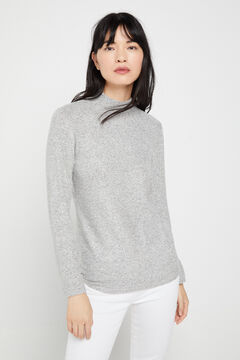 Cortefiel Soft feel mock turtleneck t-shirt Dark gray