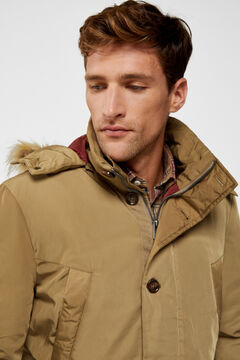 Cortefiel Jacket with a removable fur-lined hood Pistachio green