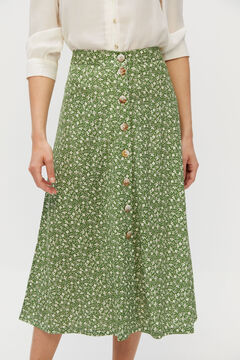 Cortefiel Super comfortable fabric midi skirt Green