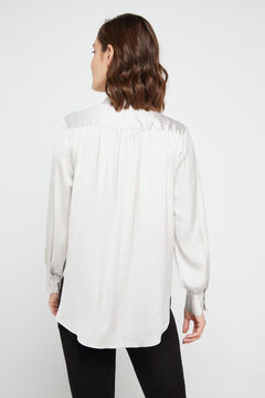 Cortefiel Satin shirt White