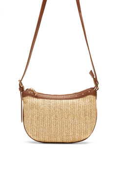 Cortefiel Raffia and studs crossbody bag Brown
