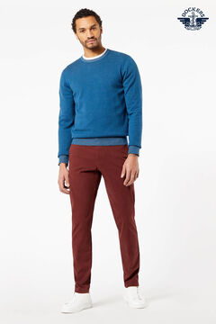 Cortefiel Round neck cotton Dockers® jumper Turquoise
