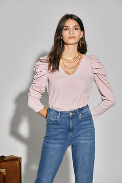 Cortefiel Jersey-knit top with puffed sleeves Pink