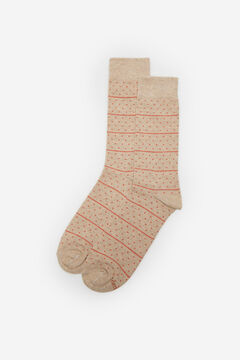 Cortefiel Organic cotton striped and polka-dot socks Brown