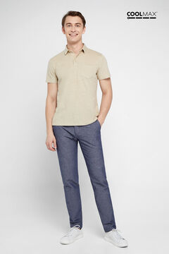 Cortefiel Short-sleeved COOLMAX® polo shirt Camel