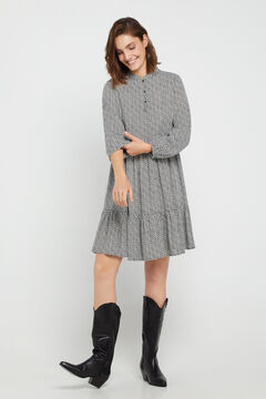Cortefiel Short printed dress Gray