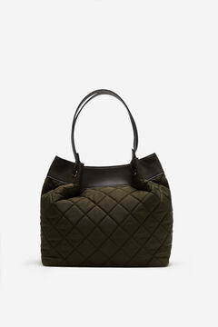 Cortefiel Quilted nylon slouch bag Gray