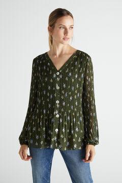 Cortefiel Camisa plisada confort Verde