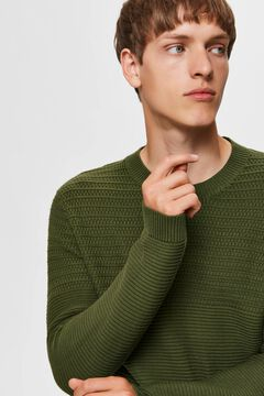 Cortefiel Organic cotton textured lines jumper Pistachio green