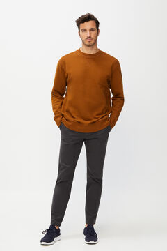 Cortefiel Printed short-sleeved T-shirt Tobaco
