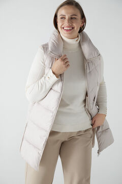 Cortefiel Long vest with collar Ecru