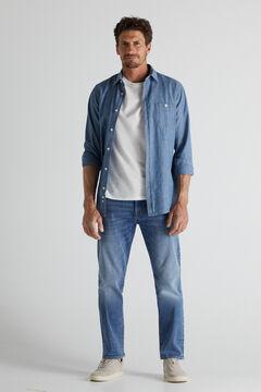 Cortefiel Slim fit extra soft medium wash jeans Royal blue
