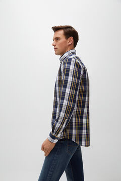 Cortefiel Checked poplin shirt Royal blue