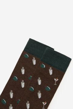 Cortefiel Cocktail motif socks Dark brown