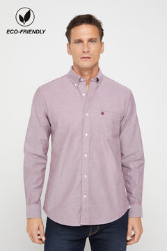 Cortefiel Plain organic cotton Oxford shirt Fuchsia