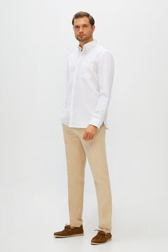 Cortefiel Plain linen and cotton shirt White