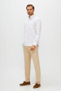 Cortefiel Camisa lisa algodón lino Blanco