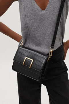 Cortefiel Embossed bag with removable strap Black
