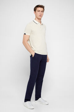 Cortefiel Short-sleeved polo shirt Ecru