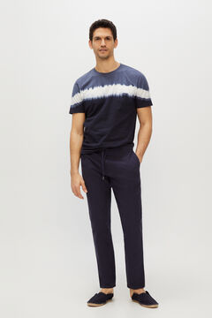 Cortefiel Slim fit linen elasticated waist trousers  Navy