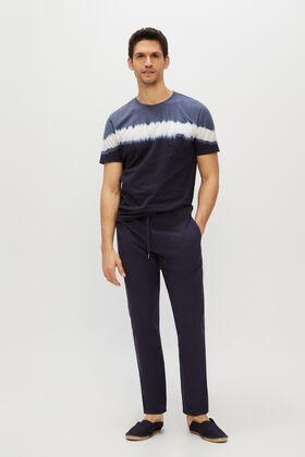 Cortefiel Pantalón lino cintura elástica slim Azul