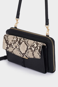 Cortefiel Faux snakeskin crossbody wallet  Black