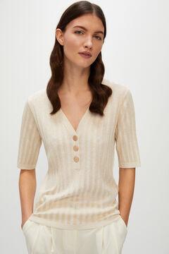 Cortefiel Short-sleeved jumper White