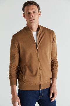 Cortefiel Cotton/cashmere zip-up cardigan Vanilla